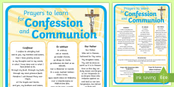 Prayers to learn for Confession and Communion A4 Display Poster - prayers, learn, confession, communion, sheet, holy,Irish