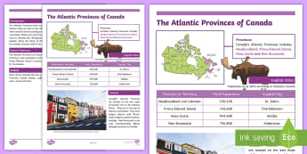 The Atlantic Provinces of Canada Fact File - Earth Day, Atlantic Provinces, Maritimes, Social Studies, Geography, Canada, Canada Day, Canada's 1