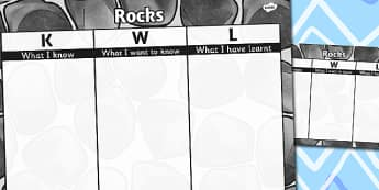 Rocks Topic KWL Grid - rocks, topic, kwl, grid, know, learn, want