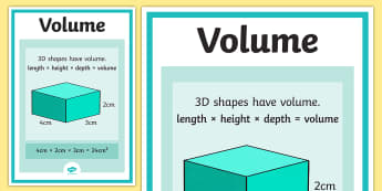 Volume Poster - maths, numeracy, display, visual aid, ks2, junior, measurement, quantity, liquid, container, cube, cubed, 3,