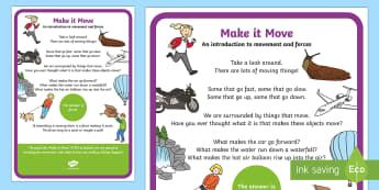 Make a Move!  An introduction to movement and forces STEM A4 Display Poster - Make a Move! STEM Science Movement and Energy Wind Forces Experiment