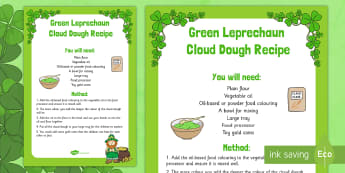 St. Patrick's Day Green Leprechaun Cloud Dough Recipe - St Patrick's Day, green, leprechaun, cloud dough