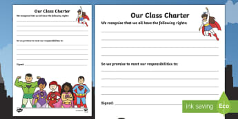 Our Class Charter Superhero-Themed for SEAL Writing Template -  Writing, Template, Classroom, Management, Behaviour, KS1