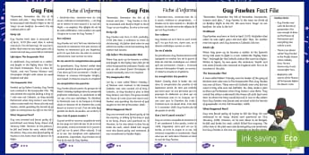 Guy Fawkes Differentiated Reading Comprehension Activity English/French  - Guy Fawkes, Bonfire Night, Fireworks night, bonfire, fireworks, Fawkes, gunpowder plot, James I, Kin