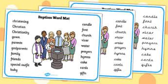 Baptism Word Mat - baptism, word mat, word, mat, christianity