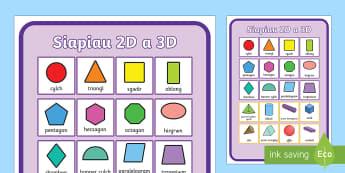 Poster Siapiau 2D a 3D - Siâp 2D, defnyddio sgiliau geometreg, Siâp, siap, Siap, enwau siapiau 2D, cylch, Cylch, Sgwar, sgw