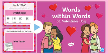Words within Words Game St. Valentine's Day PowerPoint - KS1/KS2 EAL Words in Words, valentines day, valentine's day, st. valentine, st valentine, saint val