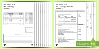 AQA Biology Unit 4.7 Ecology Test - KS4 Assessment, Test.,  ecology, biogas generator decomposition, pyramids of biomass, mycoprotein
