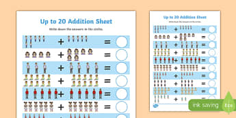 My Family Up to 20 Addition Sheet