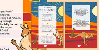 The Duck and the Kangaroo Edward Lear Poem Print Out - Edward Lear, poem, poetry, literature, key stage 2, English