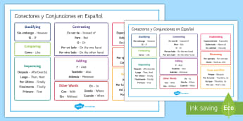 Connectors and Conjunctions Word Mat Spanish/English - Spanish Grammar, conjunctions, connectors, word mat.