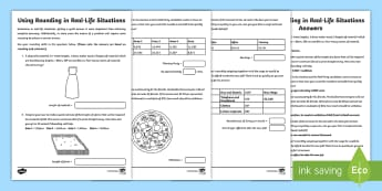 Using Rounding in Real-Life Situations Activity Sheet - Year 5, maths, mathematics, numeracy, activity sheet, problem solving, addition, add, sum, multiplic