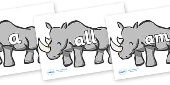 Foundation Stage 2 Keywords on Rhinos - FS2, CLL, keywords, Communication language and literacy,  Display, Key words, high frequency words, foundation stage literacy, DfES Letters and Sounds, Letters and Sounds, spelling