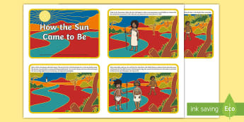 How the Sun Came to Be Story Cards - dreamtime, aboriginal, indigenous, sunrise, folk tales, just so stories, australia