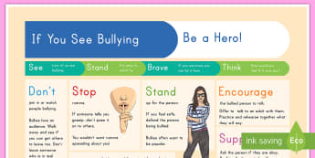 If You See Bullying Display Poster - bullying, what to do, reactions, poster, instructions