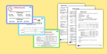 Karty z wyzwaniami Podawanie godziny - czas, godzina, podawanie, godziny, czasu, wyzwania, karty, odpowiedzi, z, odpowiedziami, kluczem, kl