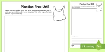 Plastics Free UAE Activity Sheet - recycling, UAE pollution, UAE Plastics, UAE Facts, UAE Science, Worksheet