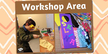 Workshop Area Photo Sign - workshop, area, photo, sign, display