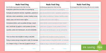 Nude Food Day Handwriting Practise Years 3-4 Activity Sheet - Healthy eating, personal health, literacy, fine motor skills, letter formation, Australia, Worksheet