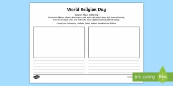 KS2 World Religion Day (15th Jan) Compare Places of Worship Activity Sheet - KS2 World Religion Day, year 3, year 4, year 5, year 6, compare religions, places of worship, church