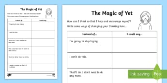 The Magic of Yet Changing My Words Activity Sheet - Growth Mindset, Power Of Yet, Brain, Positive, Goals, Achievement