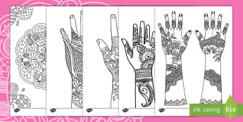 Mehndi Pattern Colouring Pages - henna, tattoo, Eid, Muslim, Hindu,