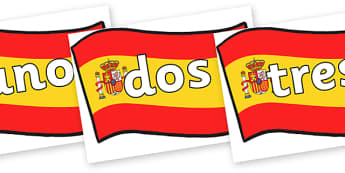 Spanish Numbers 0-20 Posters - spanish number posters, spanish number words, spanish numbers, spanish language, languages, spanish numbers to 20 on flags