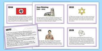 Scottish Significant Individuals Jane Haining Sequencing Cards - Scottish significant individual, Christian, missionary, Holocaust, Jewish, Auschwitz