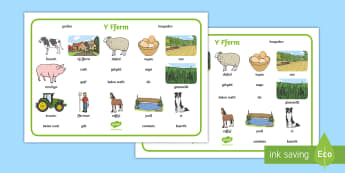 On the Farm Word Mat Welsh