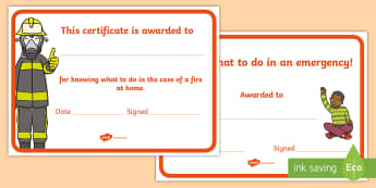 Who To Call In An Emergency Certificates  - saftey, certificates, emergency numbers, fire safety, reward