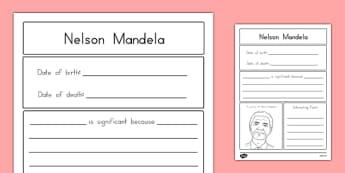 Nelson Mandela Significant Individual Writing Frame - usa, writing, nelson mandela, significant individual