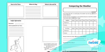 PlanIt - Geography Year 4 - What's It Like in Sheffield? Unit Home Learning Tasks - geography, UK, compare, Sheffield, contrasting, location, physical, human