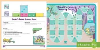 Ronald's Jungle Journey Game - Ronald the Rhino, Twinkl story book, games, activities, taking turns, psed, pshe, pse, seal.