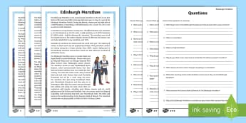 CfE Edinburgh Marathon Differentiated Reading Comprehension Activity - CfE Edinburgh Marathon (27th of May), Edinburgh, capital, marathon, running, 26 miles, reading, comp