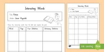 Years 5 and 6 Chapter Chat Week 3 Interesting Words Activity Sheet to Support Teaching On Patina by Jason Reynolds - literacy, reading, year 5, year 6, patina, jason reynolds, chapter chat