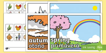 Seasonal Pictures Cut and Stick Activity English/Spanish - Seasonal Pictures Cut and Stick Activity - seasonal picture, cut and stick, activities, cut and stic
