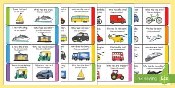 Transport Loop Cards English/Romanian -  transport, loop cards, loop, cards, activity, trasnport, trasport,Romanian-translation