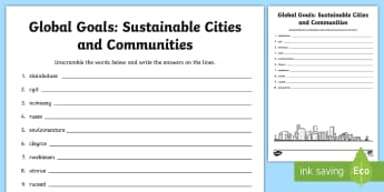 Global Goals: Sustainable Cities and Communities Word Scramble - Scramble, anagrams, reading, keywords, vocabulary, Global Citizenship, Global Issues,Scottish