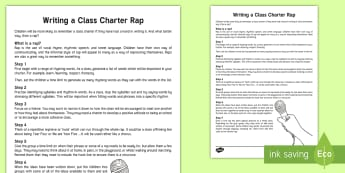 KS2 Writing a Class Charter Rap Guide - back to school, rules, behaviour, writing a rap, english