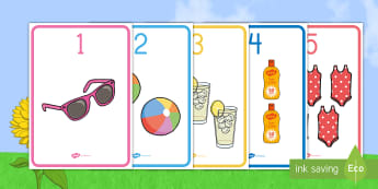 Summer Number Display Posters - Summer, summer season, first day of summer, summer vacation, summertime, Number recognition, Number