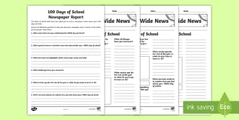 100 Days of School Newspaper Report Differentiated Writing Template - 100 days of school, writing template, newspaper, year 3, year 4, year 5, year 6,Australia