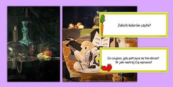 Zestaw zdjęć i kart z pytaniami Martwa natura po polsku - sztuka - polish, photo, pack