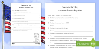 Presidents' Day Abraham Lincoln Pop Quiz Activity Sheet - Presidents Day, Abraham Lincoln worksheet, Presidents Day quiz