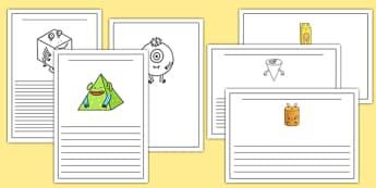 3D Shape Aliens Writing Frames - 3d shape, aliens, writing frames, writing, frames