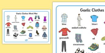 Gaelic Clothes Word Mat - gaelic, clothes, word mat, word, mat