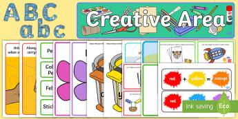 EYFS Creative Area Classroom Set Up Pack - eyfs, creative, area