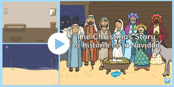 The Nativity Christmas Story Background PowerPoint - English/Spanish -  nativity, christmas story, background, powerpoint,