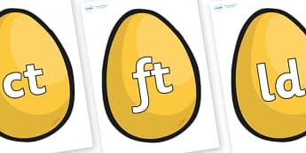 Final Letter Blends on Golden Egg - Final Letters, final letter, letter blend, letter blends, consonant, consonants, digraph, trigraph, literacy, alphabet, letters, foundation stage literacy