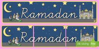 Ramadan Banner für die Klassenraumgestaltung - Ramadan, Banner für die Klassenraumgestaltung, Islam, Religion, Religionsunterricht, Glauben, Musli