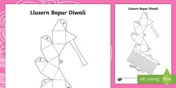 Llusern Bapur Sgwar Diwali Taflen Weithgaredd - Diwali, diwali, divali, rama and sita, Rama and Sita, RE, Addysg Grefyddol, Yearly Events, Dathliada